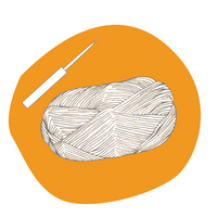 A sketch of a ball of yarn and a crochet hook on a dark yellow background