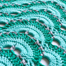 Pikki Nikki crochet blanket up close with shades of mint green and in a virus pattern