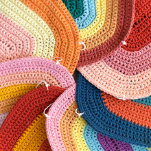 crochet rainbow art by Pikki Nikki featuring shades of pink and yellow
