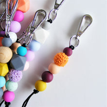 Pikki Nikki Beaded Lanyard - lanyard with silicone beads, mustard mulberry peach and orange colours