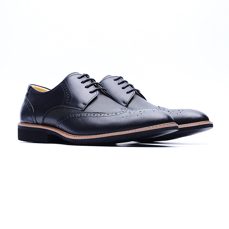 09215-Lightweight Wax Cow Leather Embossing Derby Shoes (Black)