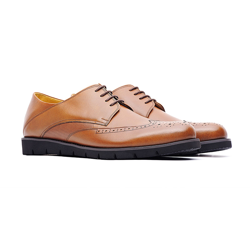 09764-Men lightweight pointy-toe formal leather shoes (Brown)