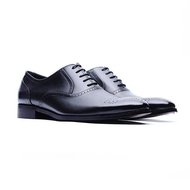 09148-Nappa Cow Leather Embossed Oxford Shoes (Black)
