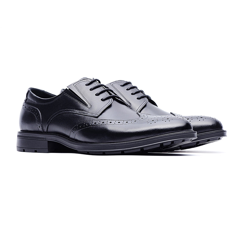 09714-Men formal lightweight breathable casual leather shoes (Black)