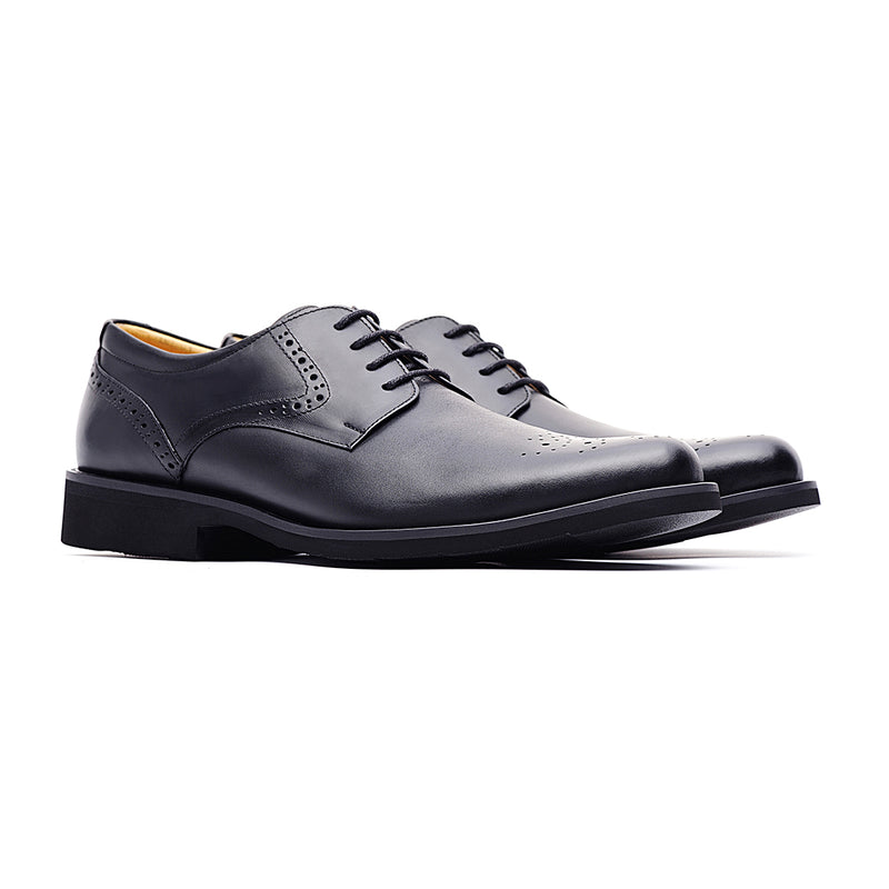 09759-Men lightweight pointy-toe formal leather shoes (Black)