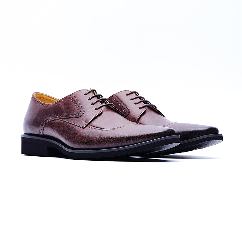 09236-Lightweight Burnished Derby Shoes (Brown)