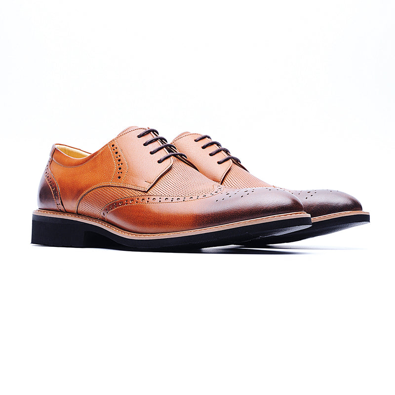09215-Lightweight Wax Cow Leather Embossing Derby Shoes (Brown)