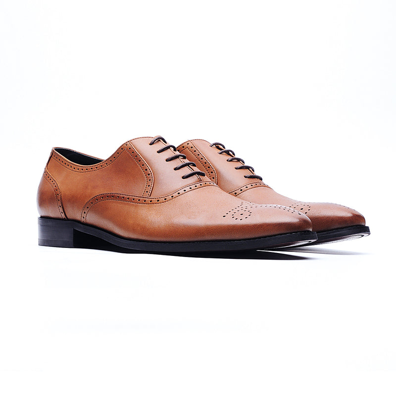 09148-Nappa Cow Leather Embossed Oxford Shoes (Brown)