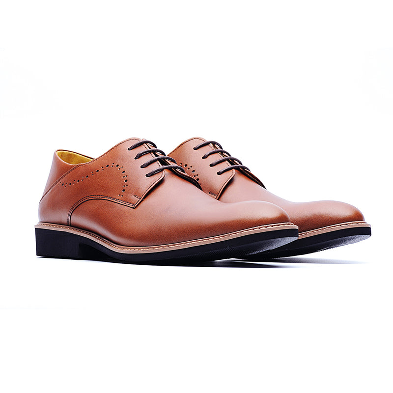 09462-Derby Brogue Shoes In Waxed Leather (Brown)