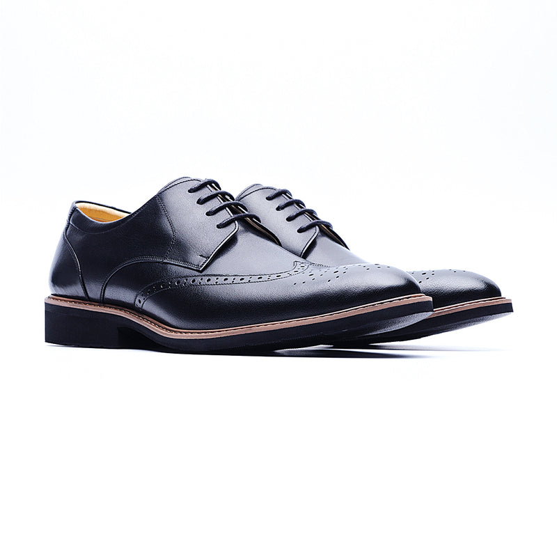 09216-Lightweight Wax Cow Leather Embossing Derby Shoes (Black)