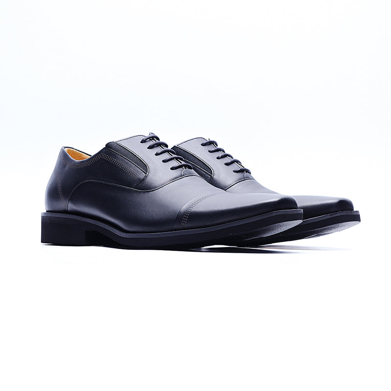 09231-MIT Casual Square Toe Leather Shoes (Black)