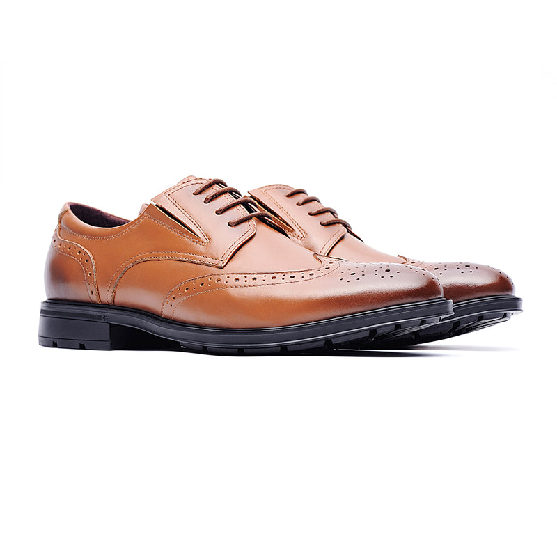 09714-Men formal lightweight breathable casual leather shoes (Brown)