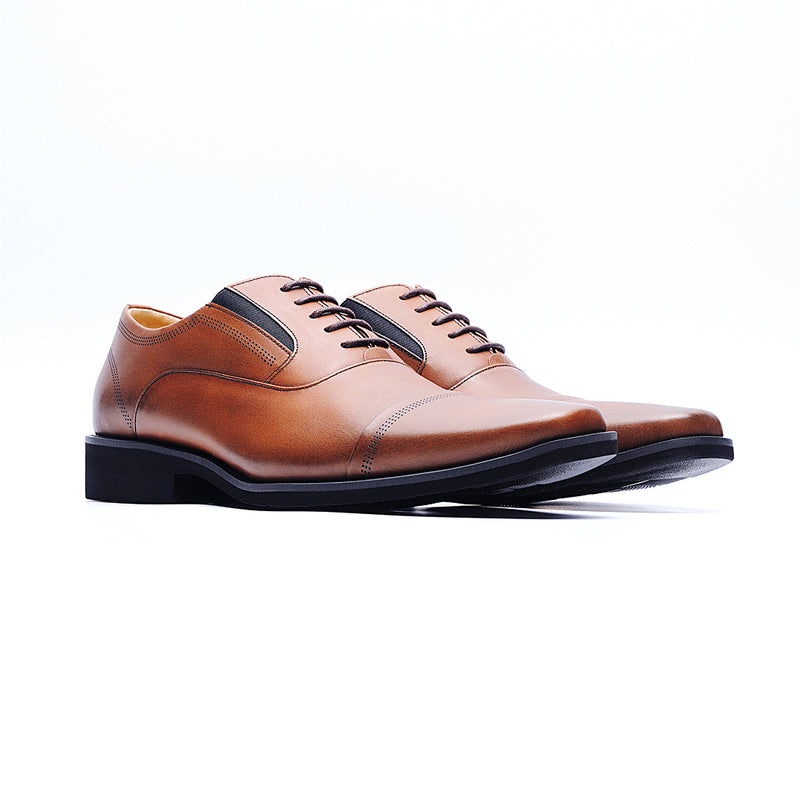 09231-MIT Casual Square Toe Leather Shoes (Brown)