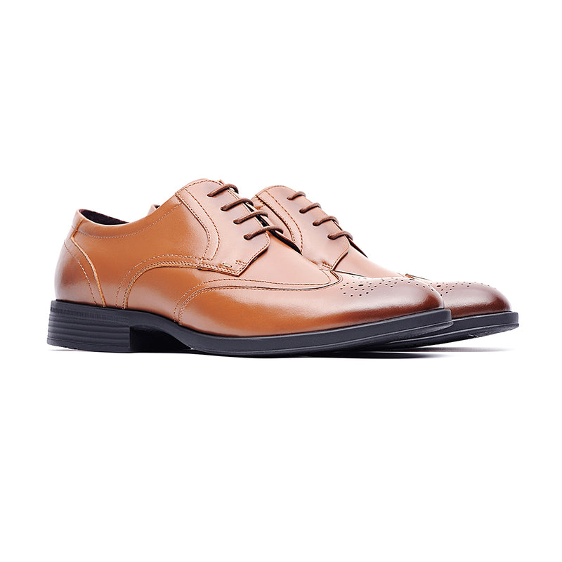09715-Men formal lightweight casual leather shoes (Brown)