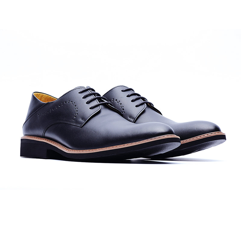09462-Derby Brogue Shoes In Waxed Leather (Black)