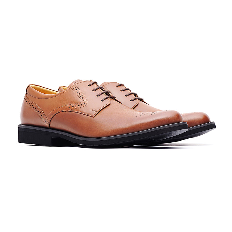 09759-Men lightweight pointy-toe formal leather shoes (Brown)