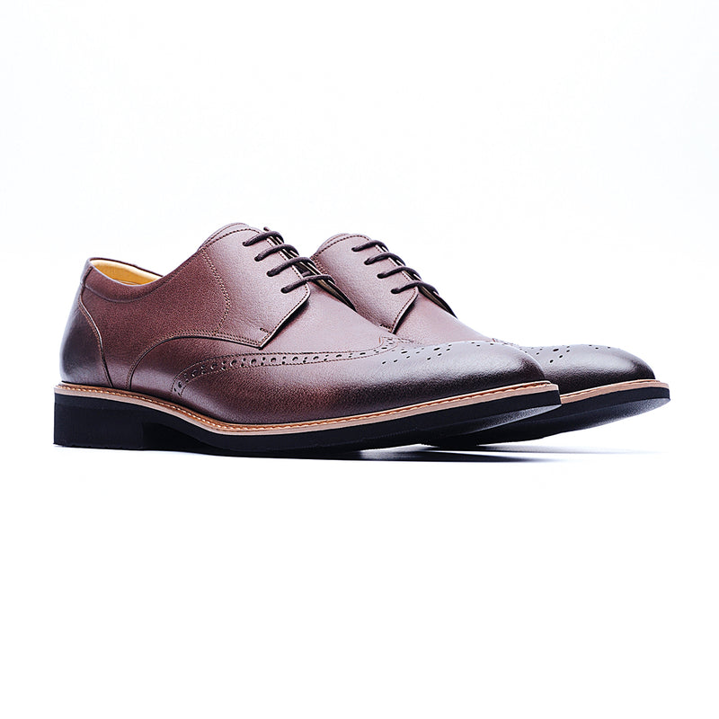 09216-Lightweight Wax Cow Leather Embossing Derby Shoes (Coffee)