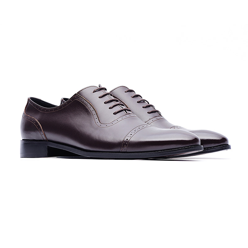 09704-Men formal leather shoes (Coffee)
