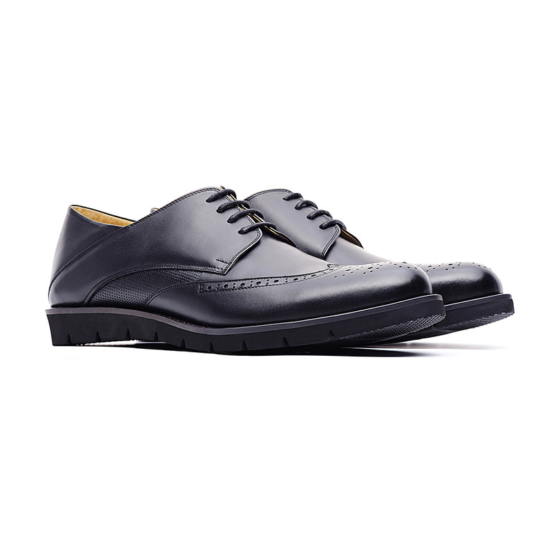 09764-Men lightweight pointy-toe formal leather shoes (Black)