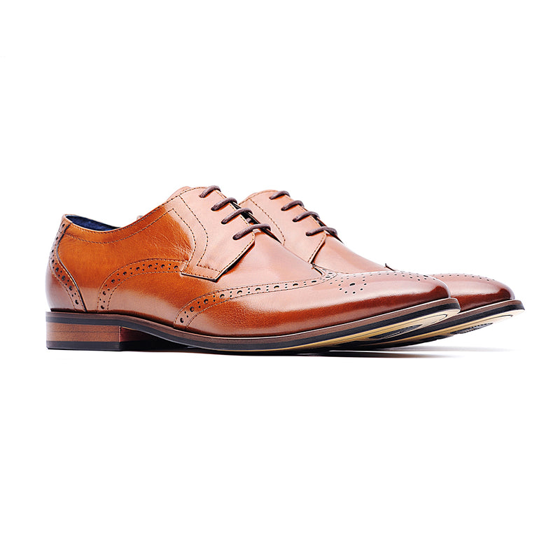 09712-Men formal leather shoes (Brown)