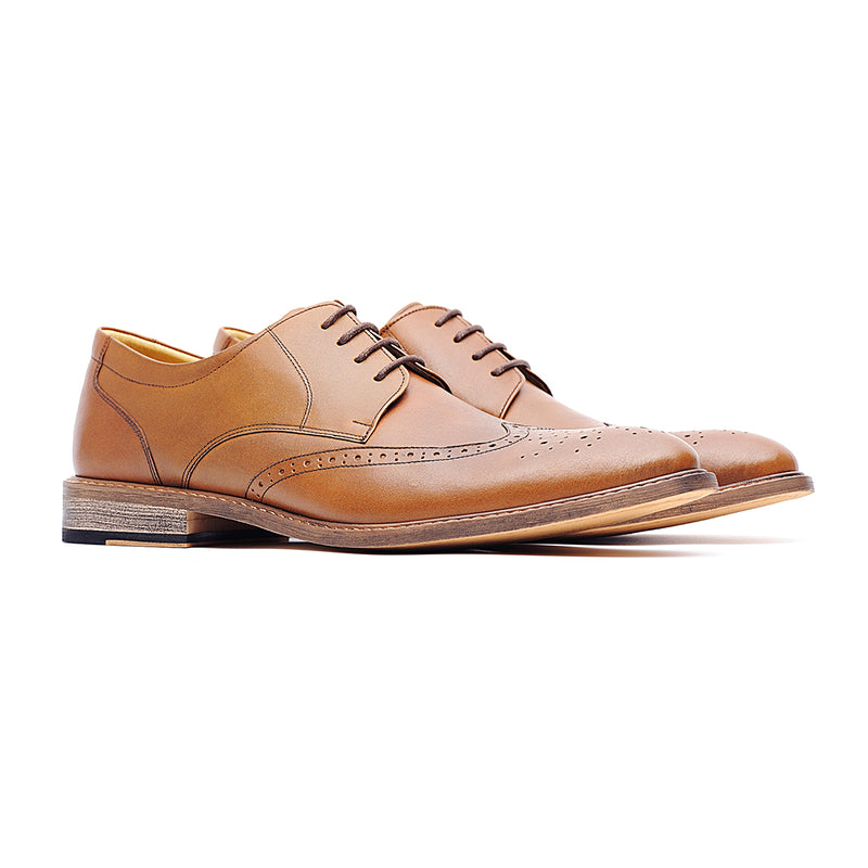 09769-Men pointy-toe formal leather shoes (Brown)