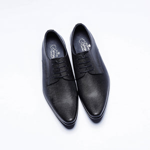 09559-MIT。Cow Leather。Business Casual Derby Shoes (Black)