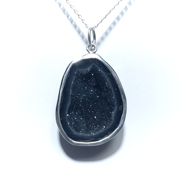 Mini-Geoda & Silver Necklace - Onyx Black Quartz - KUNST.MX