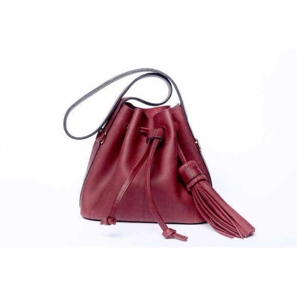 Burgundy Velvet Medium Pouch Bag - KUNST.MX
