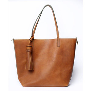 Simple Large Camel Tote Bag - KUNST.MX