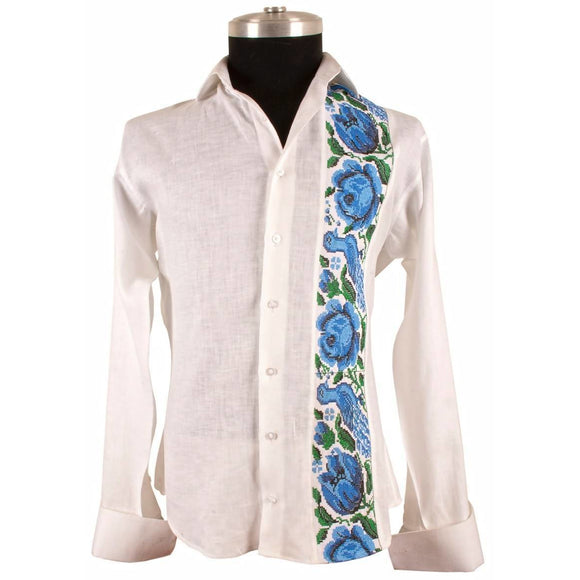 Royal Blue Rose Shirt - KUNST.MX