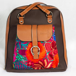 Colibrí Tenango Brown Artisanal Backpack - KUNST