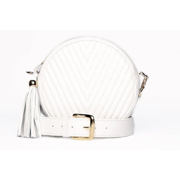 White Mathilda Round Messenger Bag - KUNST.MX