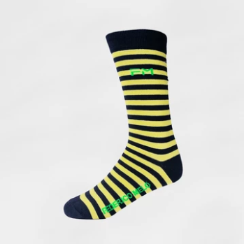Mariner Socks - Neon Yellow & Navy Blue - KUNST.MX