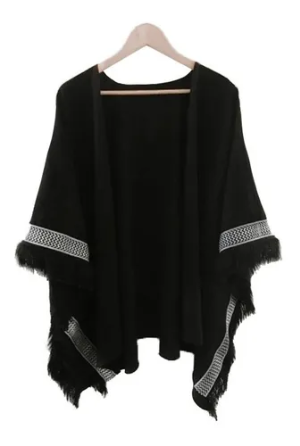 Black & White Poncho - KUNST & EATS