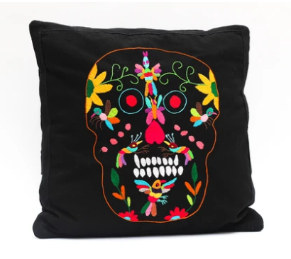 Tenango Cushion - Day Of The Dead Skull - KUNST & EATS
