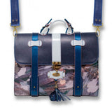Urban Cassiopea Portfolio Bag - Blue Suede, Violets and Cream - KUNST.MX