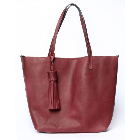 Burgundy Large Simple Tote Bag - KUNST