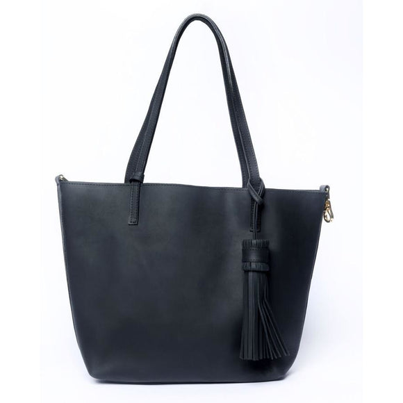 Black Leather Simple Medium Tote Bag - KUNST