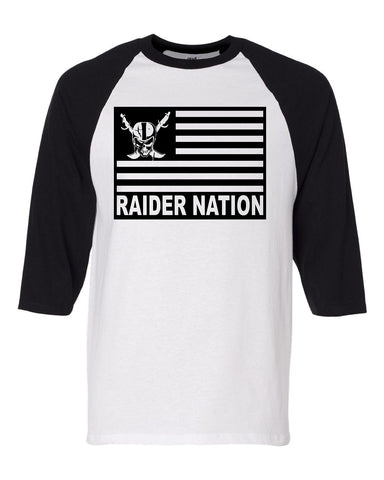 Raider Nation Flag - Baseball 3/4 Sleeve R4L Tee