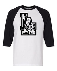 Los Angeles Raider Skull - Baseball 3/4 Sleeve R4L Tee