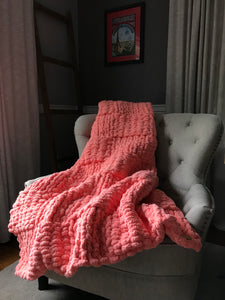 Soft Coral Knit Throw Blanket - Hands On For Homemade