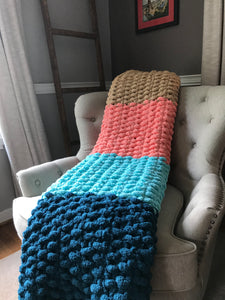 Chunky Knit Blanket | Teal Aqua Coral and Khaki Knit Throw - Hands On For Homemade