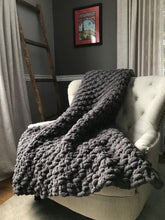 Load image into Gallery viewer, Chunky Knit Blanket | Gray Knit Throw Blanket - Hands On For Homemade