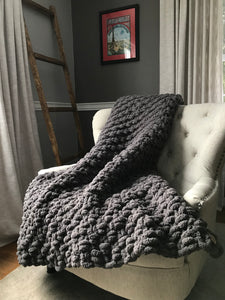 Chunky Knit Blanket | Gray Knit Throw Blanket - Hands On For Homemade