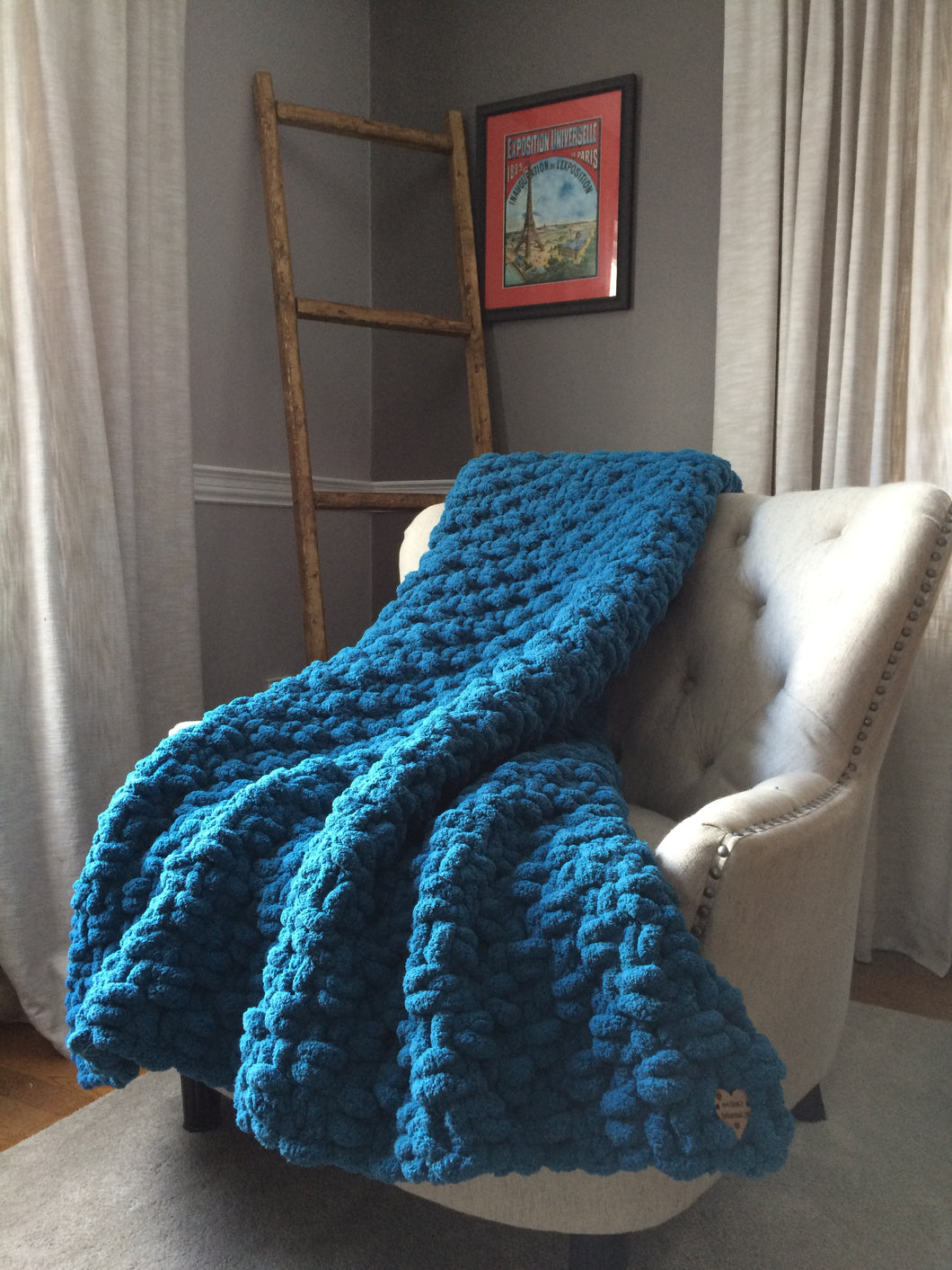 Chunky Knit Blanket | Teal Blue Knit Throw - Hands On For Homemade