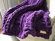 Load image into Gallery viewer, Chunky Knit Blanket | Purple Knit Throw Blanket - Hands On For Homemade