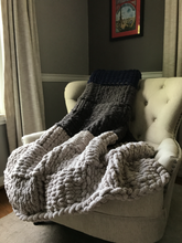 Load image into Gallery viewer, Chunky Knit Blanket | Navy and Gray Striped Throw - Hands On For Homemade