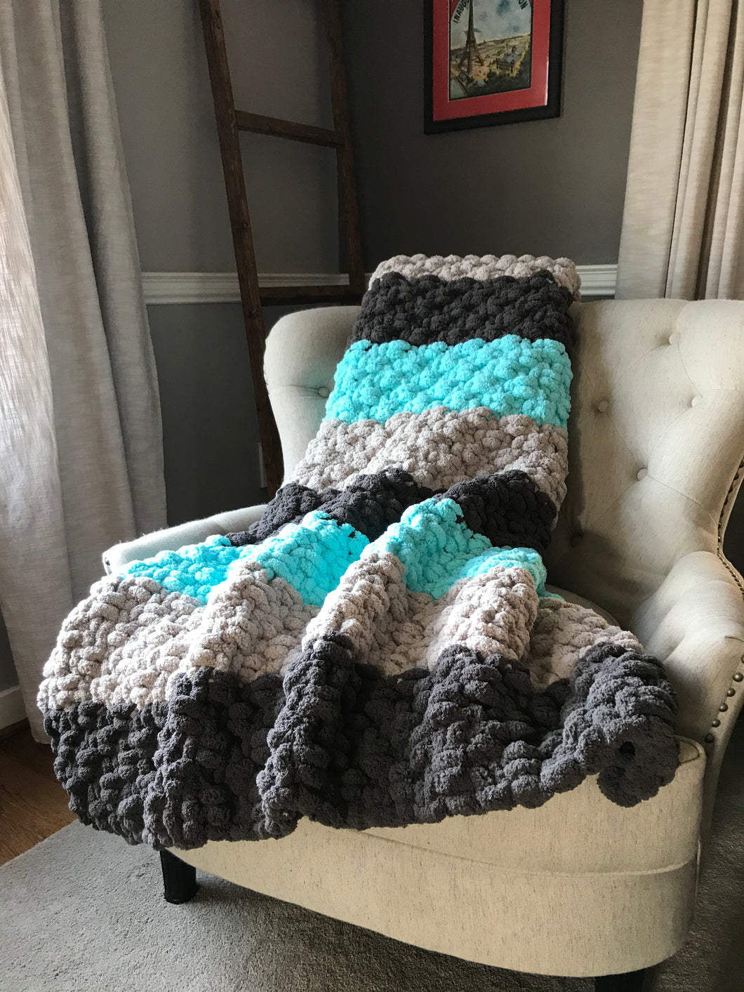Chunky Knit Blanket | Aqua and Gray Striped Throw - Hands On For Homemade