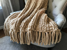 Load image into Gallery viewer, Chunky Knit Blanket | Beige Fringe Throw Blanket - Hands On For Homemade