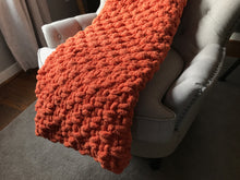 Load image into Gallery viewer, Chunky Knit Orange Throw